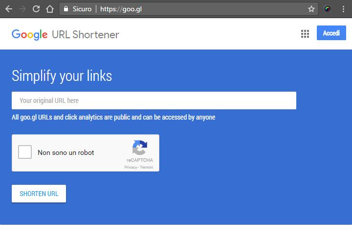 Google URL Shortener - Accorciare un URL