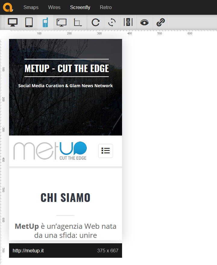 Screenfly by QuirkTools - Metup.it su iPhone 6