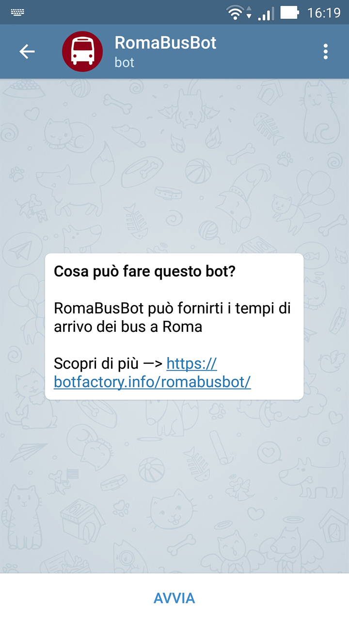 RomaBusBot - Avvio chat