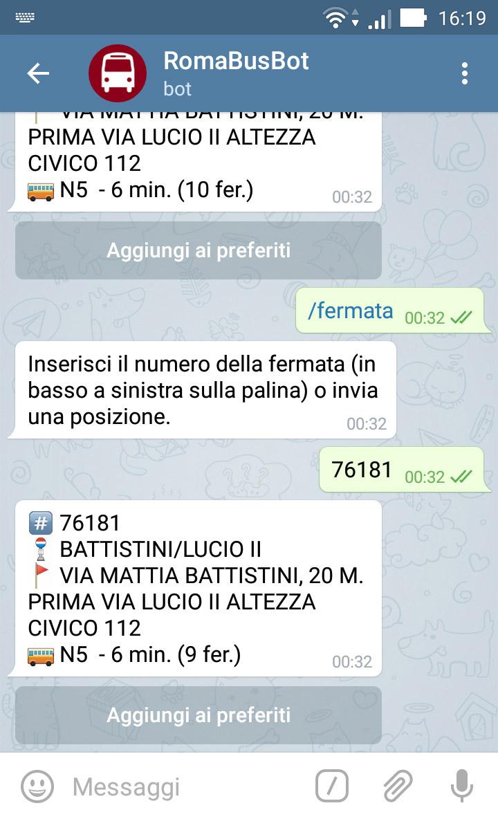 RomaBusBot - Chat