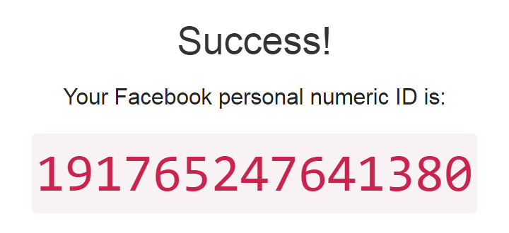 Find my Facebook ID - Success