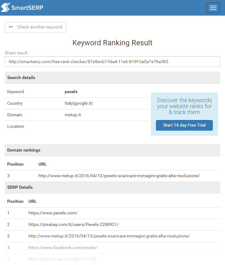 SmartSERP - Keyword Ranking Result