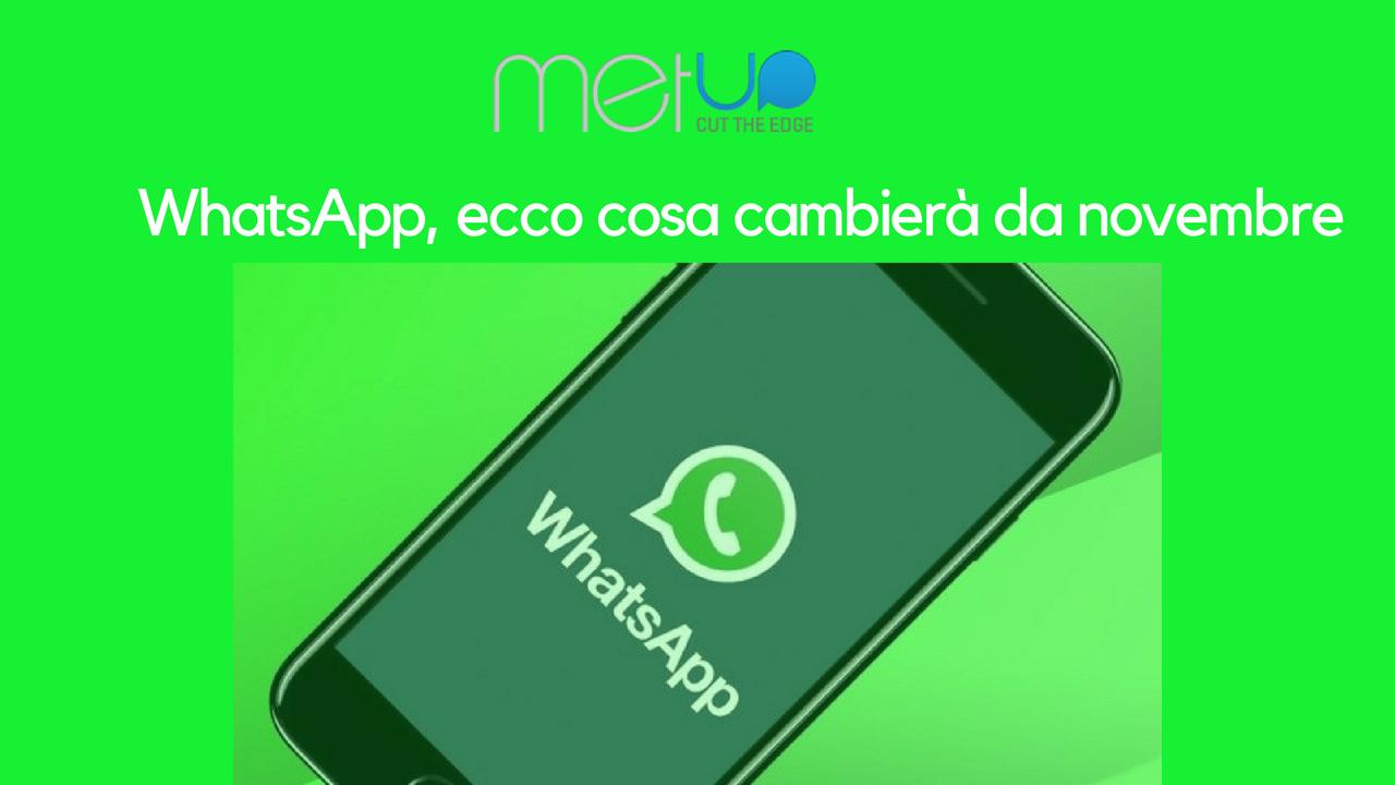 WhatsApp, tutti i cambiamenti in arrivo da novembre 2018